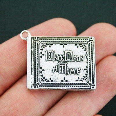 Fairy Tale Book Charm Antique Silver Tone Once Upon a Time Storybook - SC4022