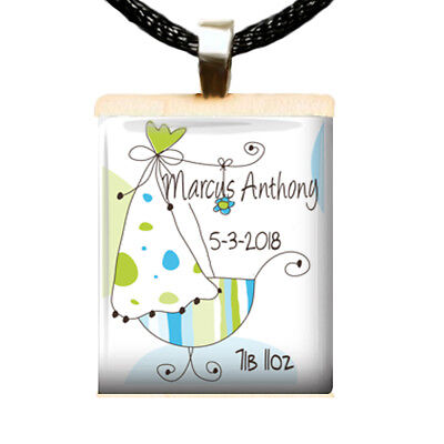 Custom Made New Baby Boy Scrabble Tile Pendant Jewelry Personalized Charm AB1 Baby Boy Jewelry