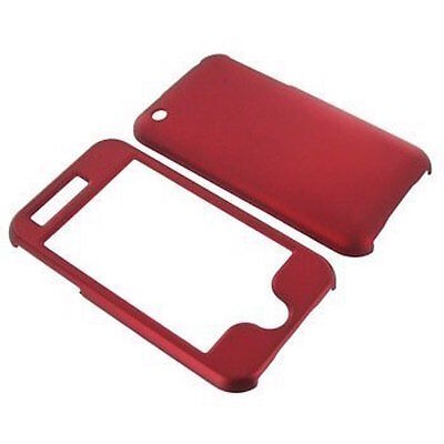 Iphone 3g Hard Snap (For Apple iPhone 3G 3GS Snap On Rubberized Hard Plastic Case Cover Red)