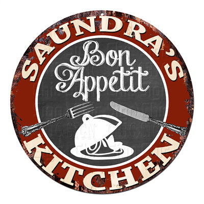 CPBK-0787 SAUNDRA'S KITCHEN Bon Appetit Chic Tin Sign Decor Gift Ideas for sale  Shipping to India