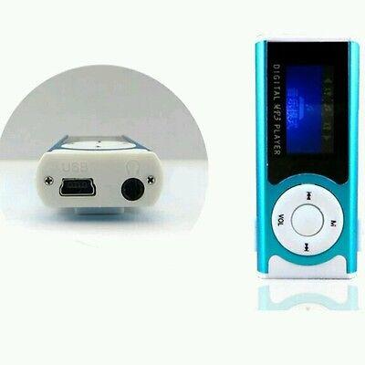 Portable Blue Shiny Mini USB Clip LCD Screen MP3 Media Player