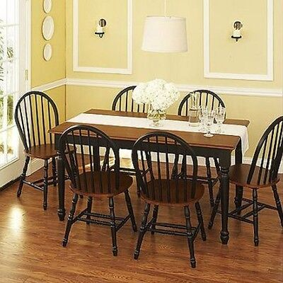 - 7 pc Dining Set Dinette Sets 6 Chairs Table Kitchen Room Furniture Chair Black