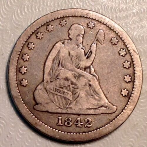 1842 O Seated Liberty Quarter 25 Cents - Large Date