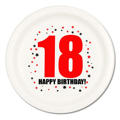 Happy 18th Birthday (Age 18) Party Supplies DESSERT CAKE PLATES