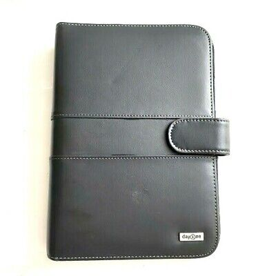 Franklin Covey Day One Black Vegan Leather 7 Ring Binder White Stitch 10 X 7