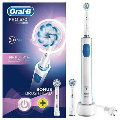 Oral B Pro 570 Cepillo de Dientes Eléctrico 3D Blanco Con Recarga...