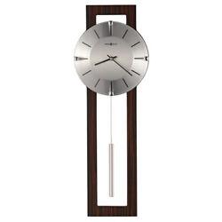 Modern Contemporary Brown Wood & Silver Metal Pendulum Wall Clock 24 Battery op