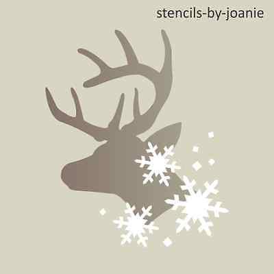 Joanie Stencil Winter Deer Buck Head Antler Snowflake Christmas Holiday Art Sign