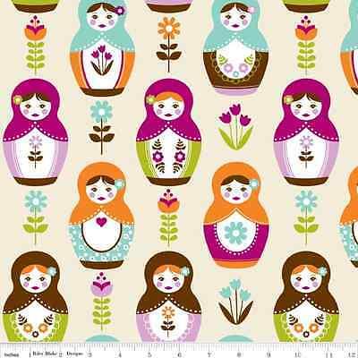 Little Matryoshka Main Cream by Carly Griffith for Riley Blake, 1/2 yard fabric