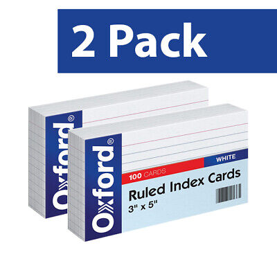 2 Pack - Oxford 31 3x5 Inch Ruled Index Cards - White Pack Of 100