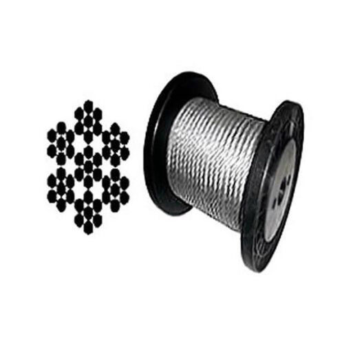 """Galvanized Aircraft Cable Wire Rope 1/8"""" 7x7 - 100, 200, 250, 500,1000 & 2000 ft"""
