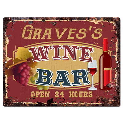 PLWB0340 GRAVES'S WINE BAR Rustic Tin Chic Sign Home Store Decor Gift Ideas