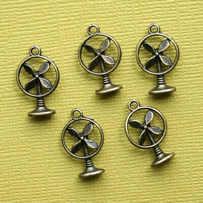 Antique Bronze Fan (8 Retro Fan Charms Antique Bronze Tone 3D - BC582)