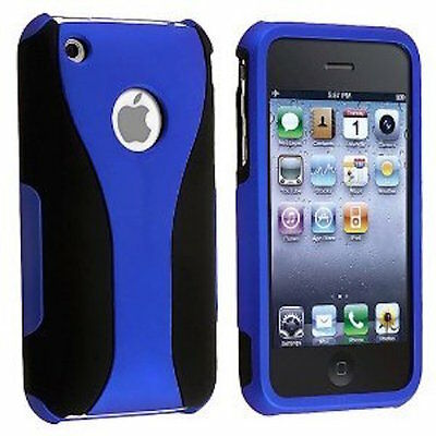 Iphone 3g Hard Snap (BLUE BLACK SNAP-ON 3-PIECE HARD CUP SHAPE CASE COVER for APPLE iPHONE 3G S 3GS)
