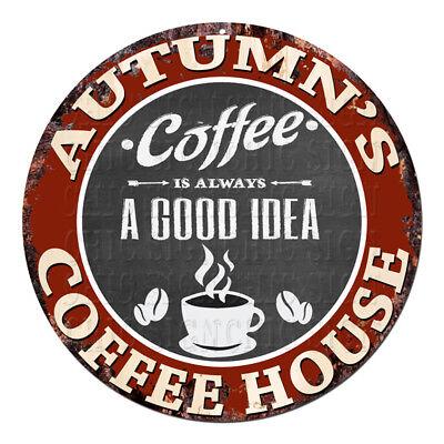 CPCH-0660 AUTUMN'S COFFEE HOUSE Chic Tin Sign Decor Gift Ideas](Fall Decorations Ideas)
