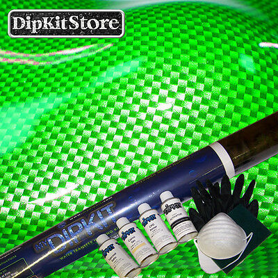 Hydrographic My Dip Kit Store Large Silverclear Weave Carbon Fiber Cf5621wgreen