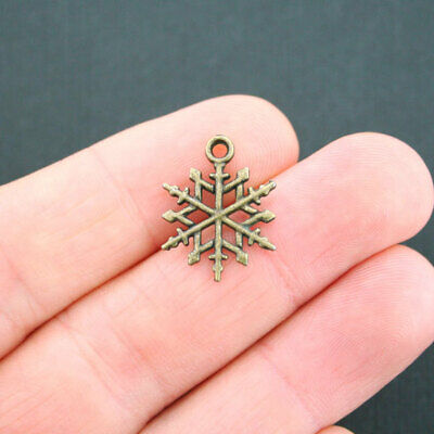 10 Snowflake Charms Antique Bronze Tone 2 Sided - BC446 (10 Snowflake)