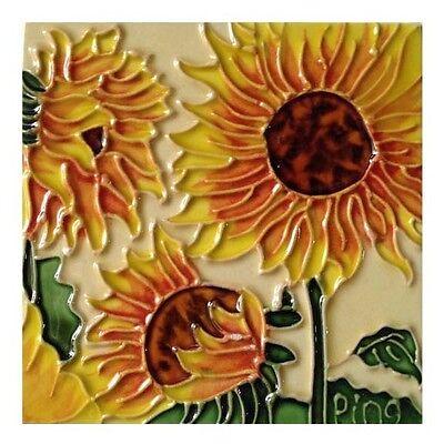 "Three Sunflowers Art Tile 4""x4"" Decorative Ceramic New Backsplash Yellow Brown"