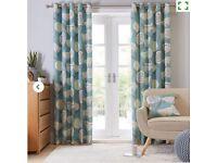 Dunelm Emmott Teal Patterned Curtains 228 x 228xm