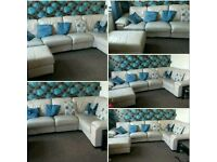 Cream leather sofa dfs!