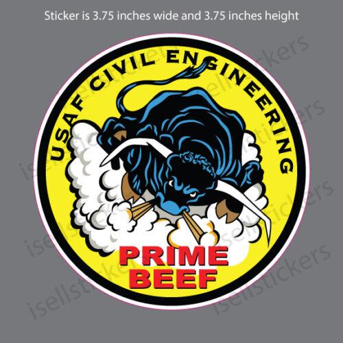 AF-1139 Air Force USAF Civil Engineering Prime Beef Bumper Sticker Window Decal