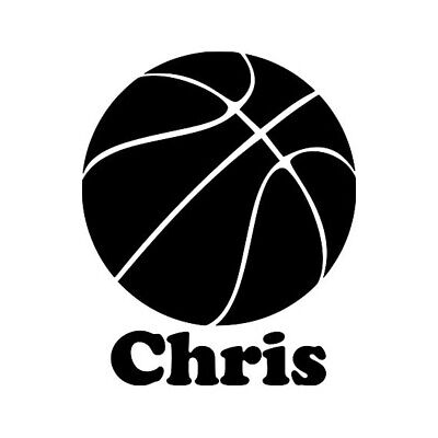 BASKETBALL with Personalized Name Vinyl Decal Sticker - Dribble Shoot Hoops  - Personalized Basketball