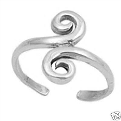 Spiral Toe Ring Sterling Silver 925 Fashion Beach Adjustable Jewelry Gift