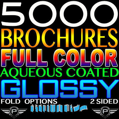 5000 Full Color 8.5x11 Trifold Brochures Gloss Coated 100lb High Quality 2Sided  - $343.00