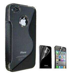 NEW BLACK IPHONE 4S 4G 4 CASE & SCREEN PROTECTOR KIT TPU FOR AT&T VERIZON