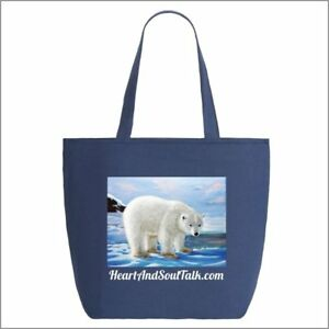 Polar Bear - Cotton Tote bag with zipper -