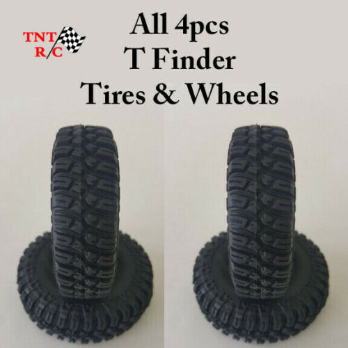 All 4pcs 1/24th, 1/18th scale r/c rock crawler T-Finder tires & Wheels Free Ship