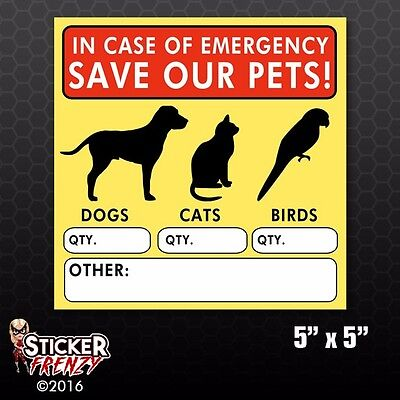 Save Our Pets Sticker FS058 Fire Rescue Emergency Vinyl Window Decal Dog Cat 911