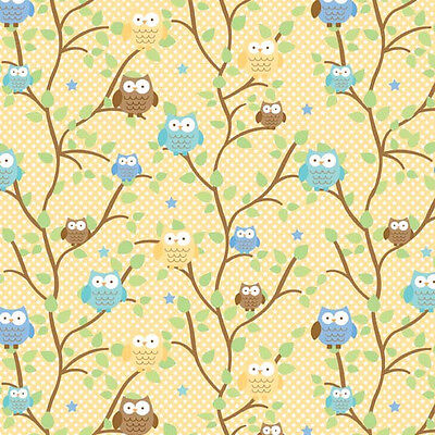 Snips & Snails Owls Yellow by October Afternoon for Riley Blake, 1/2 yard fabric