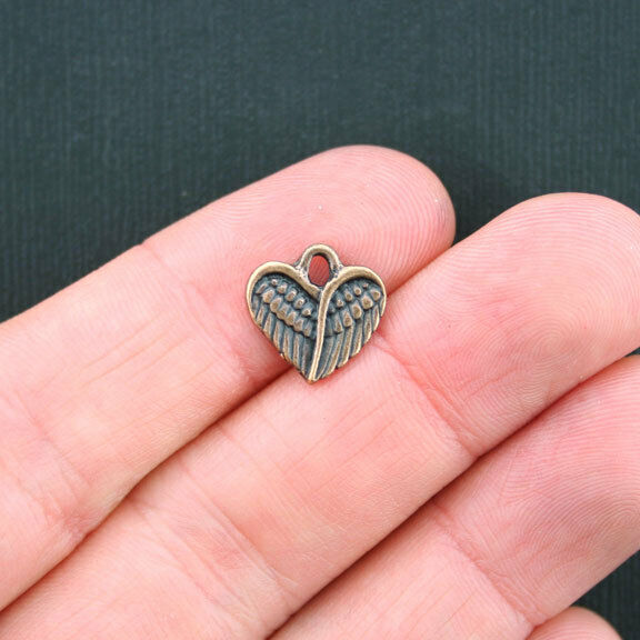 10 Heart Wings Charms Antique Copper Tone - BC989