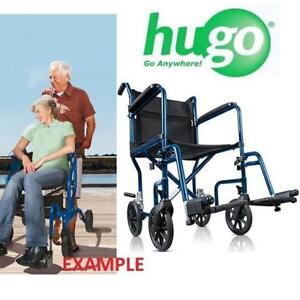 NEW HUGO PORTABLE TRANSPORT CHAIR 700-869 205923461 HEALTHCARE MIDNIGHT BLUE WITH DETACHABLE FOOT REST