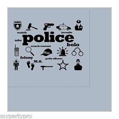 Police Badge Icons Lunch Napkins Birthday Party Supplies law enforcement - Law Enforcement Party Supplies