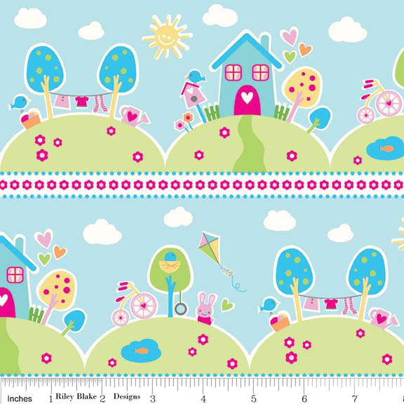 Riley Blake Sweet Home Fabric C3730 Blue Baby Nursery Craft Material Kids Uk Fq