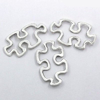 8 Puzzle Piece Charms Antique Silver Tone 2 Sided - SC2385