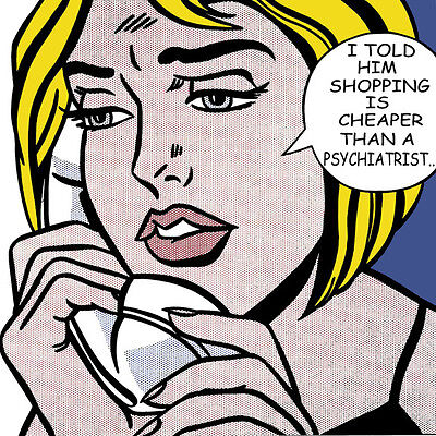 Roy Lichtenstein Style Shopping Is Cheaper Than A Psychistrist Pop Art Canvas