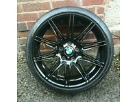 "×1 GENUINE BMW 19"" 225M MV4 8J FRONT ALLOY WHEEL GLOSS BLACK"