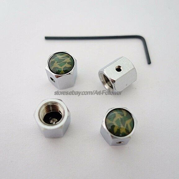 1 Set Brand New Green Camouflage Anti-Theft Locking Tire Air Valve Cap 1 sets
