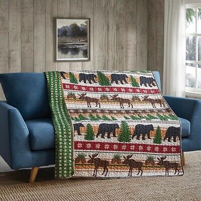 Christmas Bear Quilted Throw Lodge Life Nature Preserve Pines Woods (Natural Wood Pine Bed)