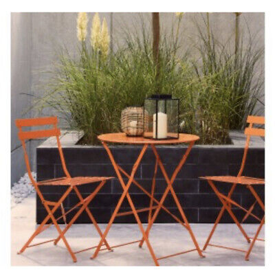 HABITAT Parc Metal Folding Bistro set Orange ONLY £50.00 collect WF11 9HS