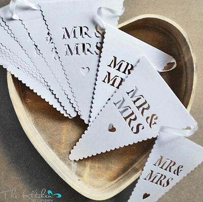 Mr & Mrs Bunting Banner Garland Wedding Party Decoration, 5M White Vintage Style