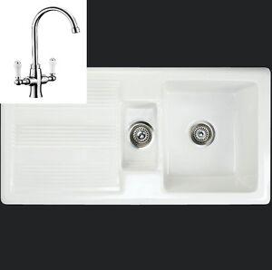Rak Ceramic Gourmet 1 Mk 2 1 5 Bowl Farmhouse Sink Inc Designer Tap EBay