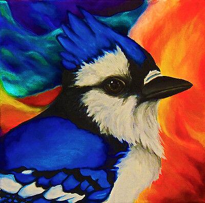 8x8 BLUE JAY Bird Wildlife Nature Signed Art PRINT of Original Oil Painting VERN