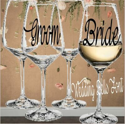 Bride Groom Vinyl Decals for Your Wine Glasses Couples Gift Wedding Monograms (Wedding Decals)
