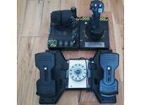 Saitek x-55 rinho hotas system with saitek pro rudder pedals