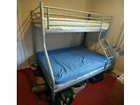 Metal Frame Bunk Bed (Double on the botton, single on top)