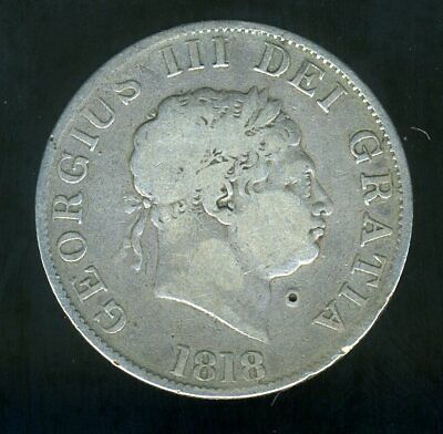 1818 BRITISH HALF CROWN GEORGE III SILVER COIN ---RARE 200+ YEAR OLD SILVER COIN